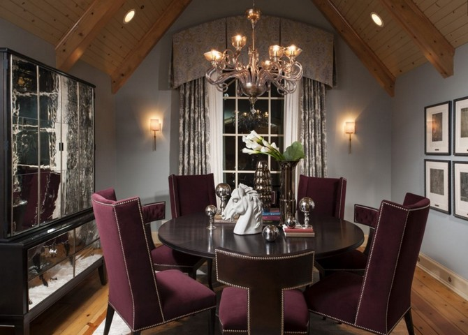 Dining Room design - High Back dining room chairs and round wood dining table Dining room decorating ideas Dining room decorating ideas by Donna Mondi Interior Design Dining room decorating ideas by Donna Mondi Interior Design 2
