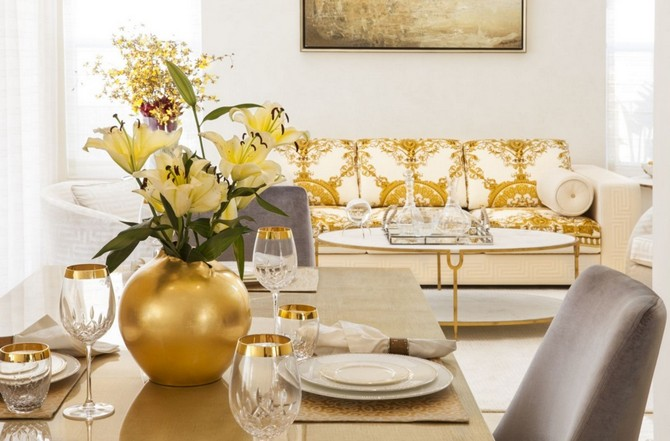Dining room decorating ideas- gold accents for your dining table set