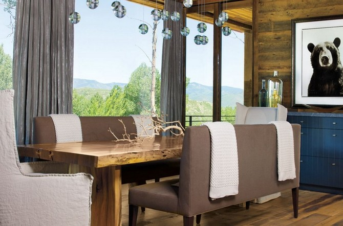 Mountain Neutral Dining Room With Bench Seating Interior Design