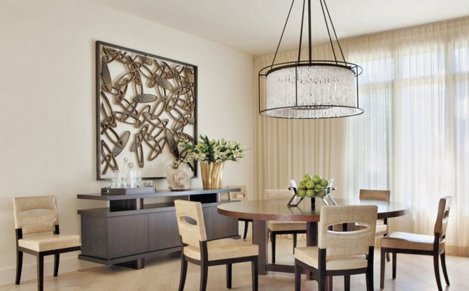 Modern Neutral Dining Room With Cement And Wood Artwork Interior Design