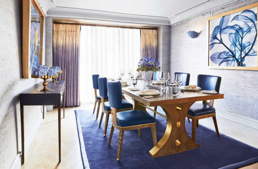 blue dining room by david collins blue dining room 10 Stylish Blue Dining Room Ideas blue dining room by david collins 1