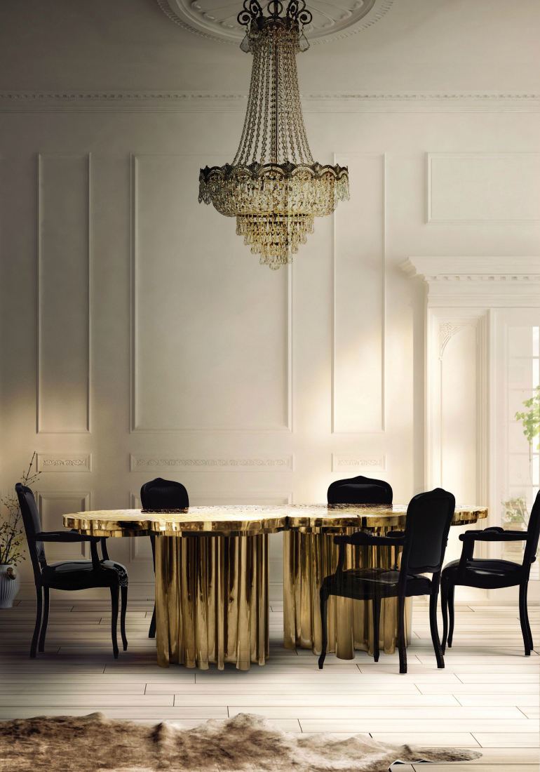 Amazing Interiors with Large Dining Room Tables Dining Room Tables 8 Amazing Interiors With Large Dining Room Tables 10 Dining Room Sets With Smashing Gold Appointments 2