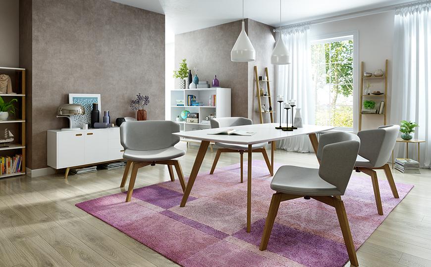 Eye Catching Modern Dining Room Decor In Purple