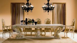 dining room Inspiration: Fabulous Dining Room Ideas White gold with black chandelier 300x168