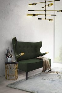 dining room Why the Dining Room is the Most Important Room in Your Home green soufa couch up against wall 201x300