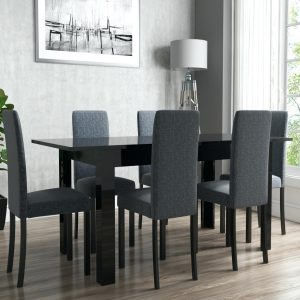 dining room Dark Dining Rooms: The Right Choice view larger image dining room table for 6 black high gloss slate chairs with legs 300x300